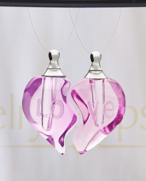 Blushing Double Hearts Glass Reflection Pendant