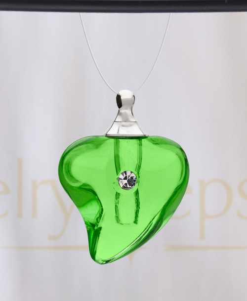 Green Shapely Heart Glass Reflection Pendant