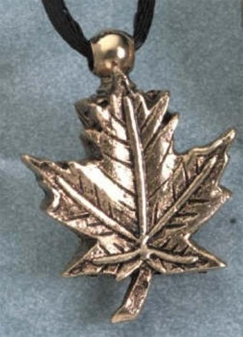 Pendant Keepsake Brass Maple Leaf
