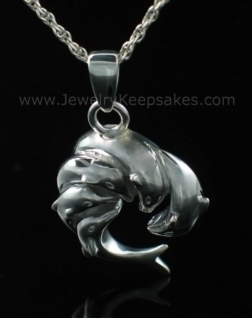 Ash Pendant Urn Sterling Silver Dolphin