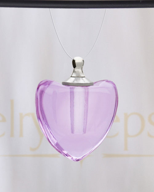 Violet Pristine Heart Glass Reflection Pendant