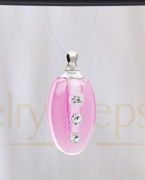 Pink Mystic Glass Teardrop Reflection Pendant