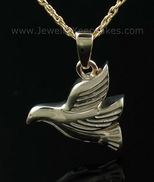 Cremated Remains Jewelry Gold Plated Dove Flying