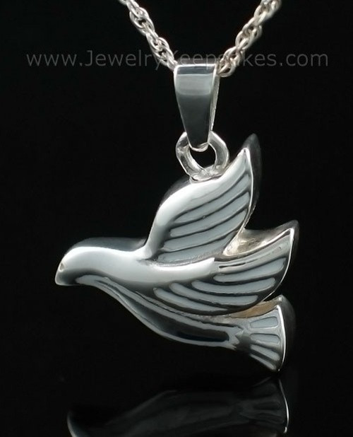 Cremated Remains Jewelry Sterling Silver Dove Flying