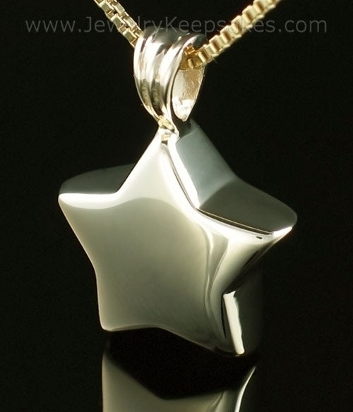 Cremation Urn Necklace 14K Gold Small Star