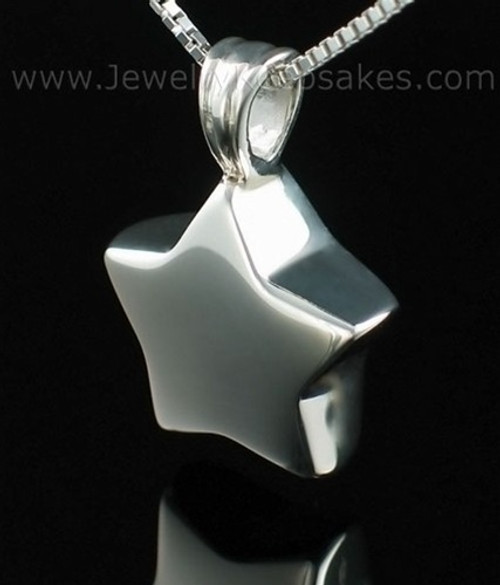 Cremation Urn Necklace Sterling Silver Small Star