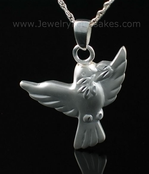 Urn Pendant Sterling Silver Dove Open Wings