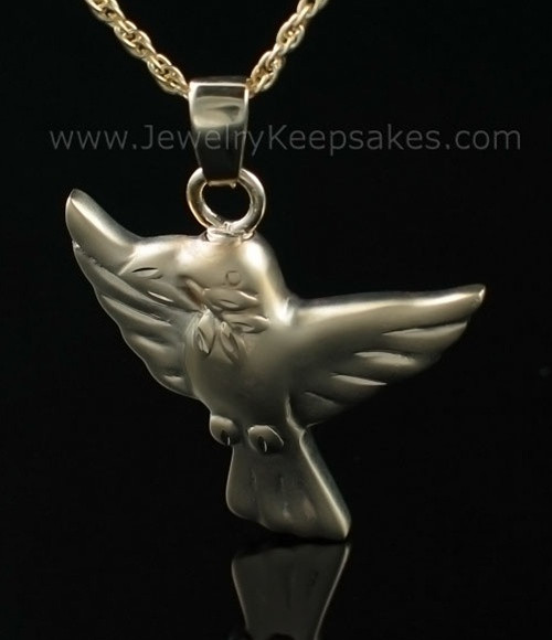 Urn Pendant Gold Plated Dove Open Wings