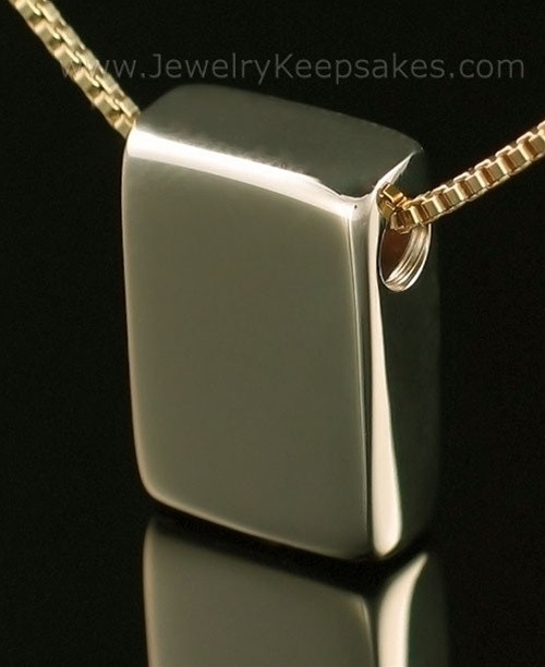Memorial Necklace 14K Gold Rectangle with Chain