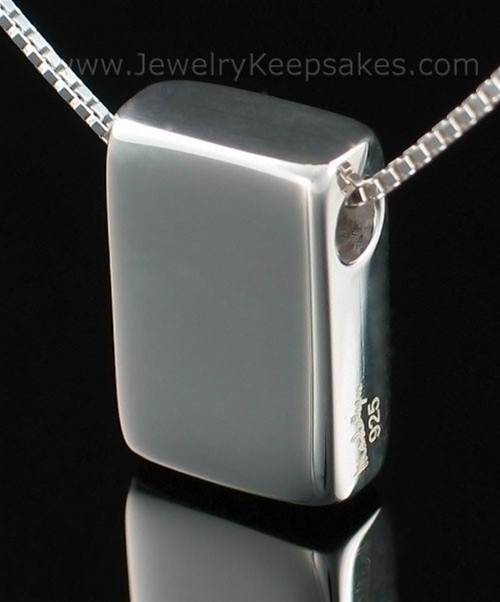 Memorial Necklace Sterling Silver Rectangle with Chain