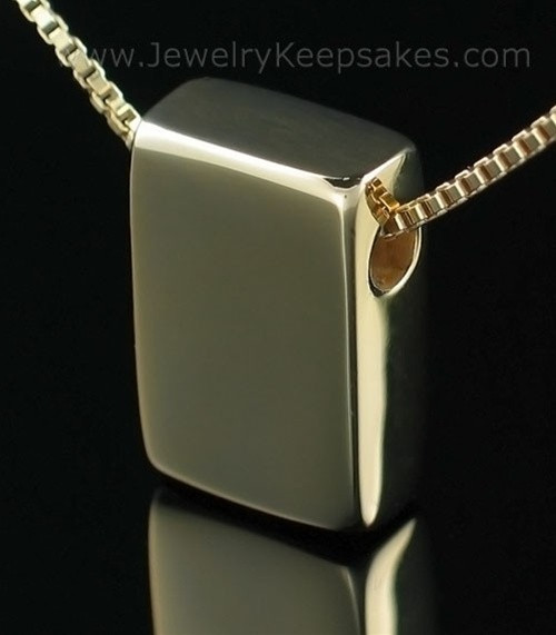 Memorial Necklace Gold Plated Rectangle with Chain