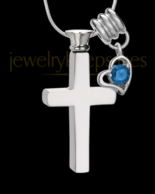 Stainless Cremains Locket September Memorable Cross - Eternity Collection