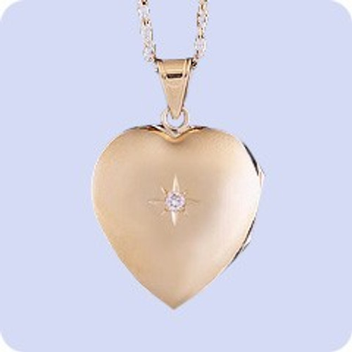 Cremation Necklace 14K Gold Diamond Heart Locket