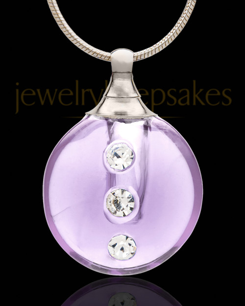 Cremation Jewelry Lavender Security Glass Locket