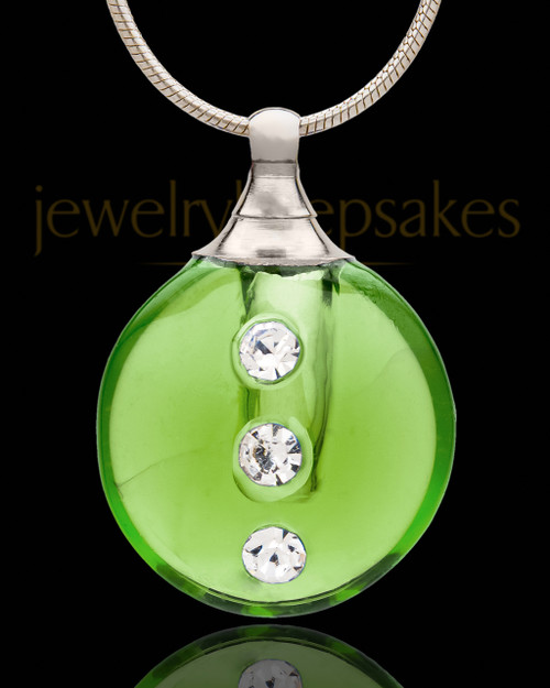 Jewelry Urn Green Security Glass Locket