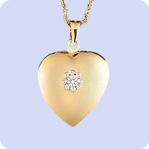 Ash Pendant 14K Gold Diamond Heart