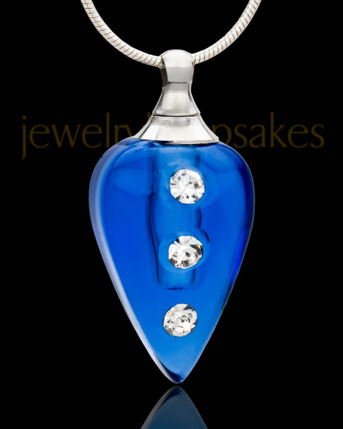 Cremation Necklace Indigo Joyful Glass Locket