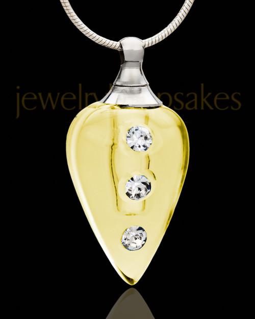 Cremains Pendant Golden Joyful Glass Locket