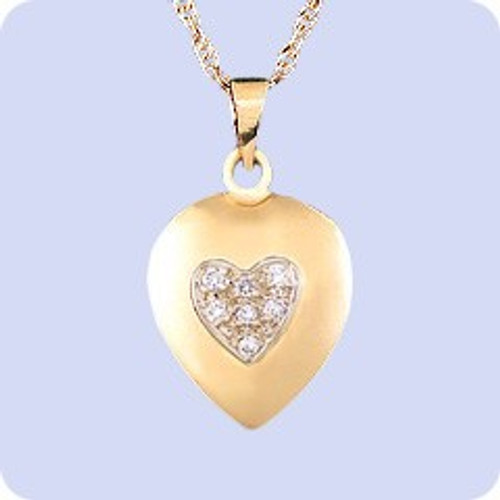 14K Gold Memorial Pendant Ash Diamond Heart in Heart