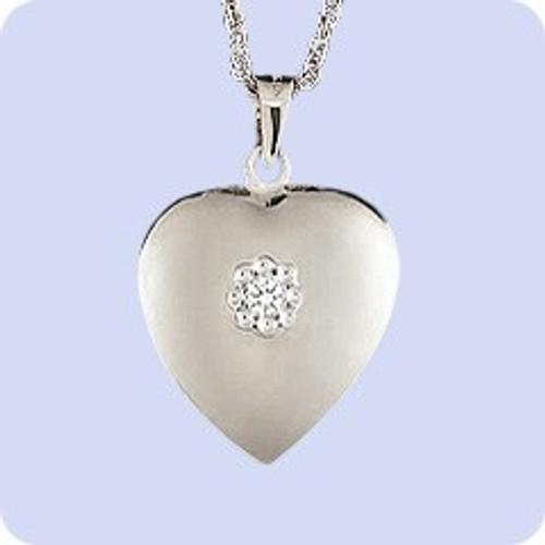 Cremains Locket Sterling Silver Diamond Heart