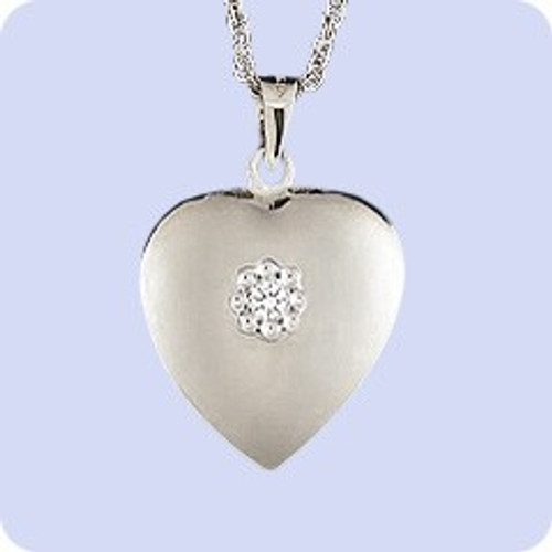 Cremains Locket Sterling Silver Diamond Heart