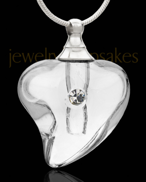 Ash Pendant Clear Shapely Heart Glass Locket