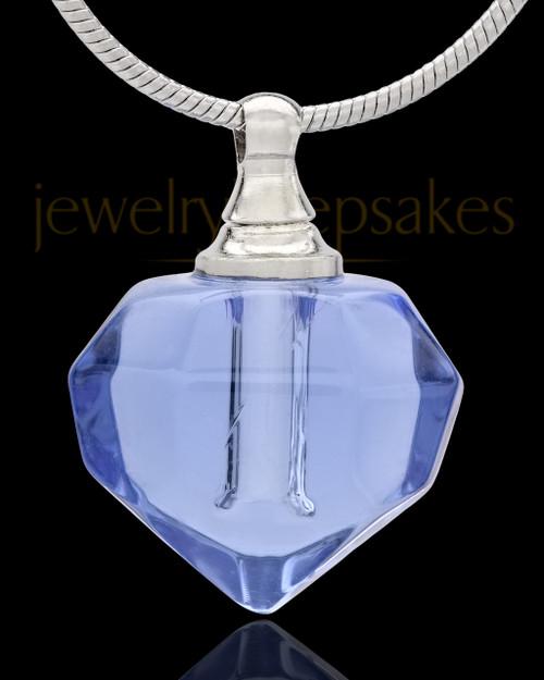 Urn Necklace Blue Tiny Tear Glass Locket