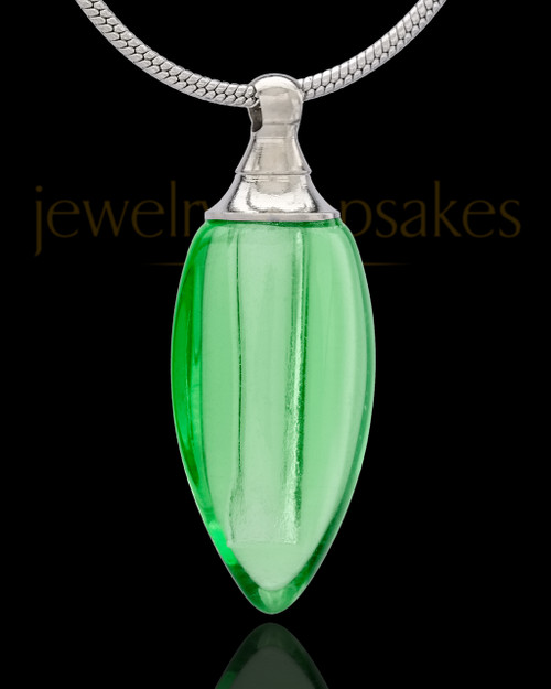 Urn Necklace Green Fallen Tear Glass Locket