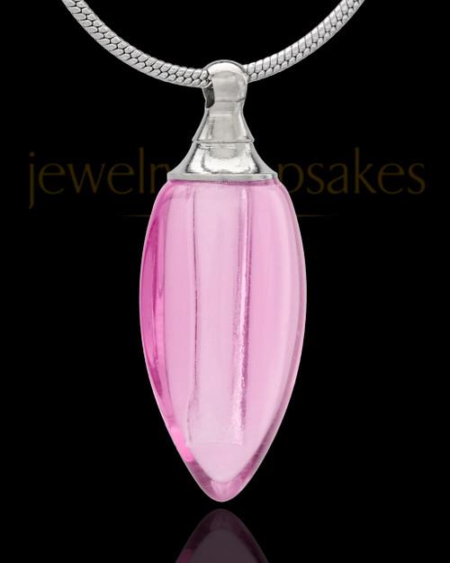 Urn Necklace Pink Fallen Tear Glass Locket