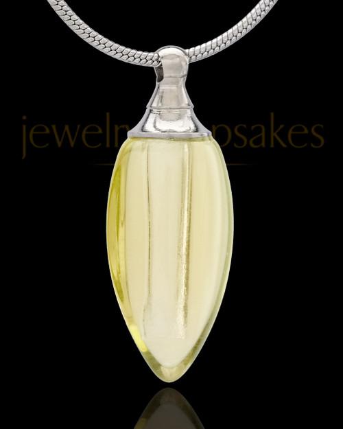 Urn Necklace Yellow Fallen Tear Glass Locket