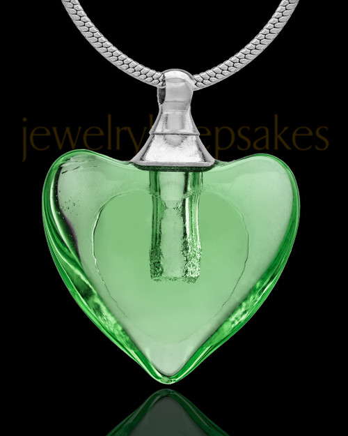 Urn Necklace Green Heart Duo Glass Locket