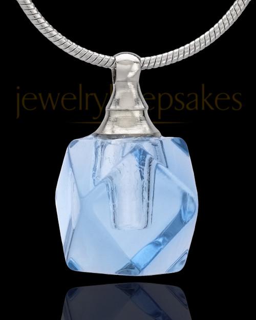 Urn Necklace Blue Cubes Glass Locket