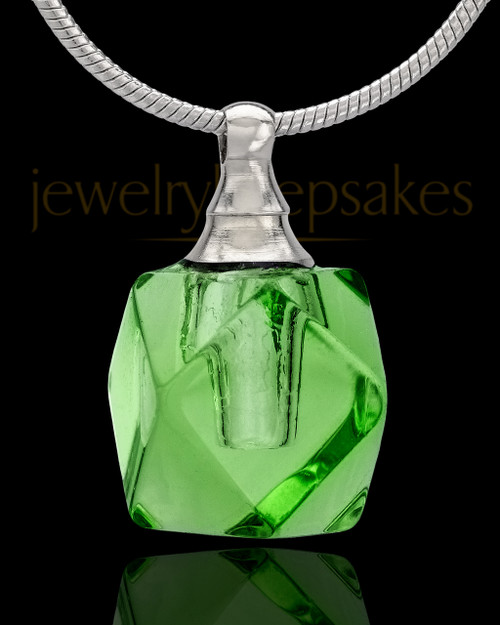 Urn Necklace Green Cubes Glass Locket