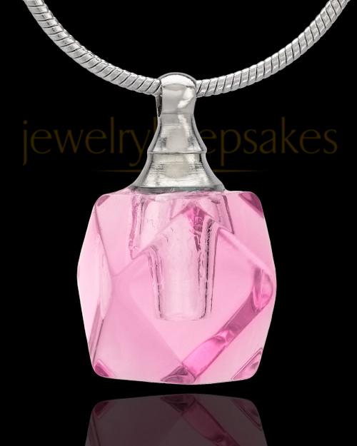 Urn Necklace Pink Cubes Glass Locket
