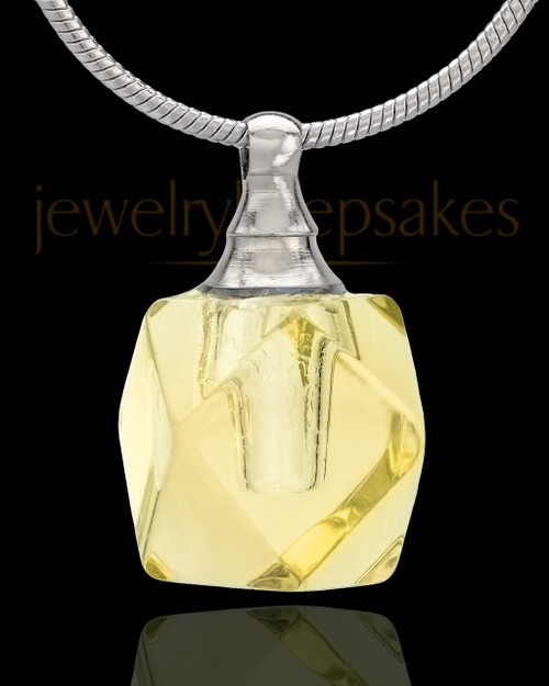 Urn Necklace Yellow Cubes Glass Locket