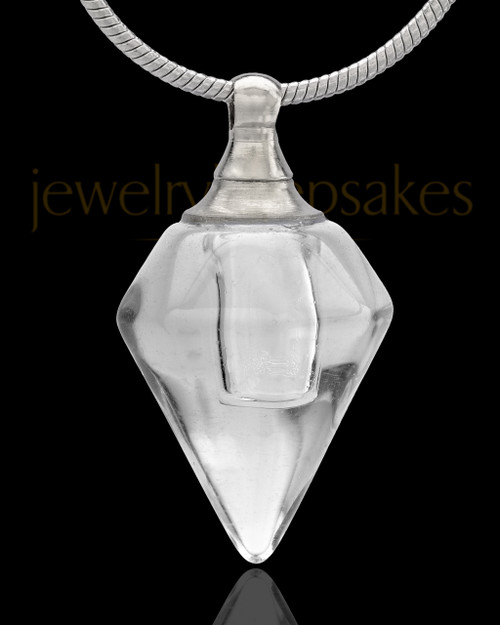 Urn Necklace Clear Spinner Glass Locket