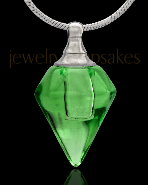 Urn Necklace Green Spinner Glass Locket