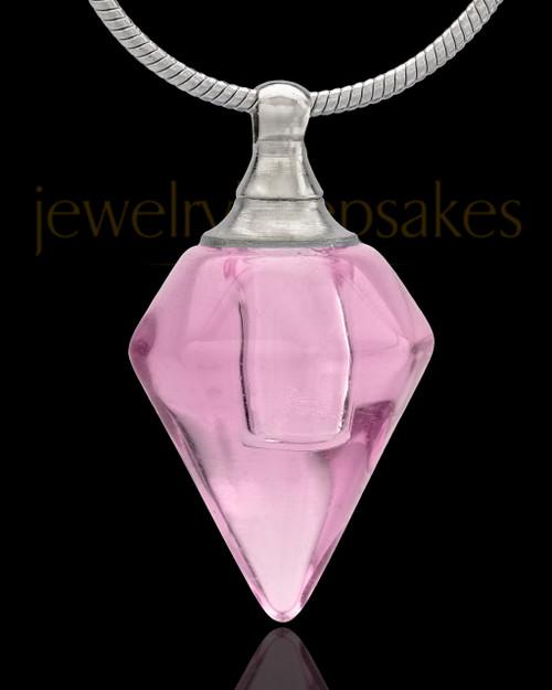 Urn Necklace Pink Spinner Glass Locket