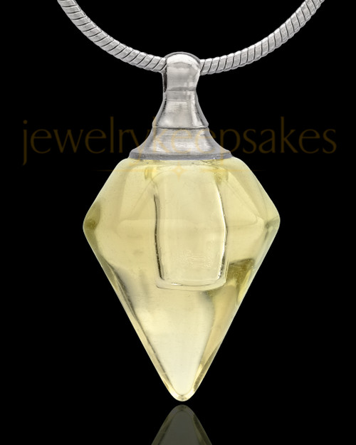 Urn Necklace Yellow Spinner Glass Locket