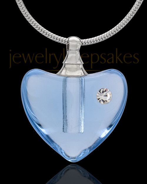 Urn Necklace Blue So Loved Glass Locket