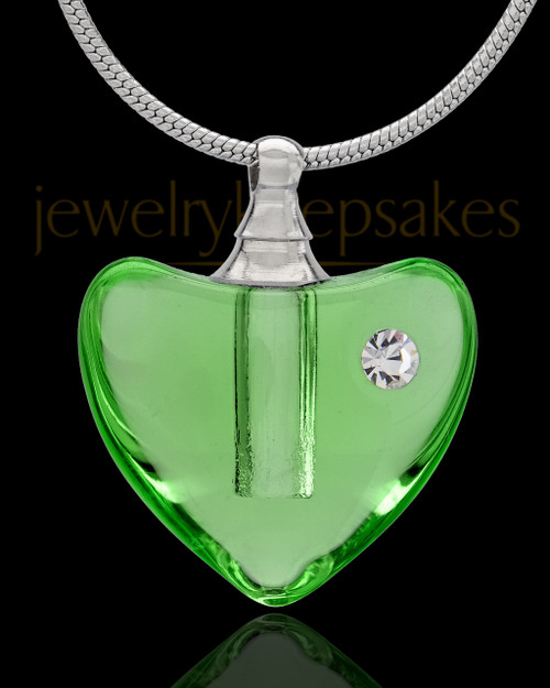 Urn Necklace Green So Loved Glass Locket
