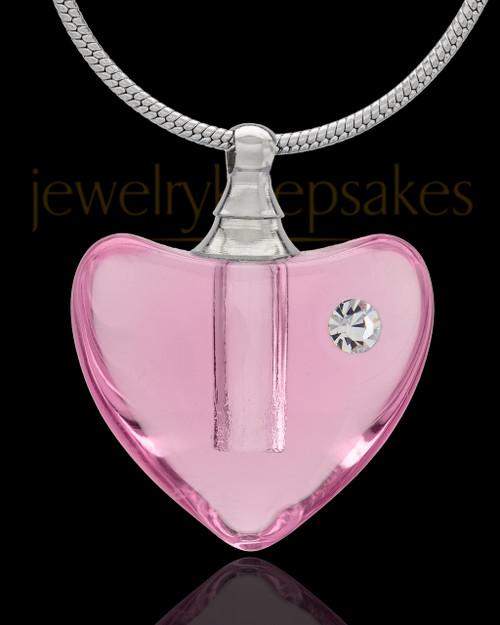 Urn Necklace Pink So Loved Glass Locket