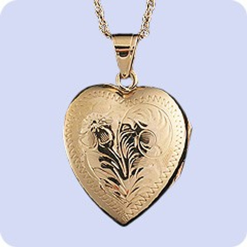 Cremains Pendant 14K Gold Hand Engraved Heart Locket