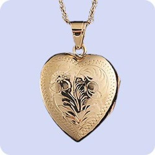 Cremains Pendant 14K Gold Hand Engraved Heart Locket