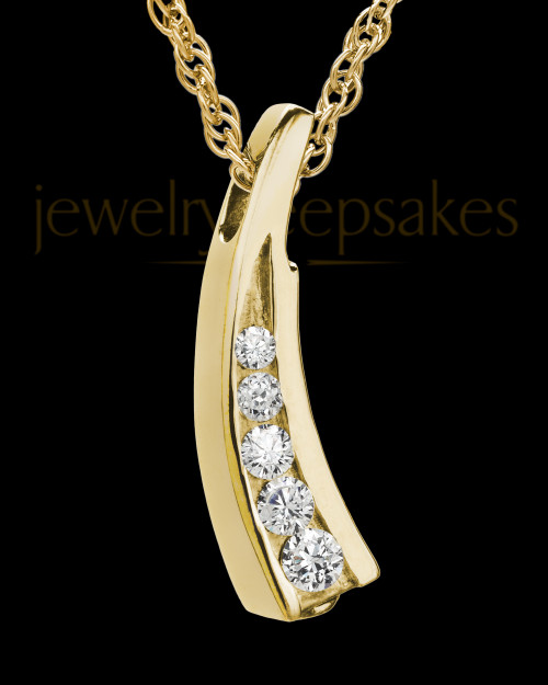 Remembrance Jewelry Cubic Zirconia Filled Solid 14K Gold Leaf