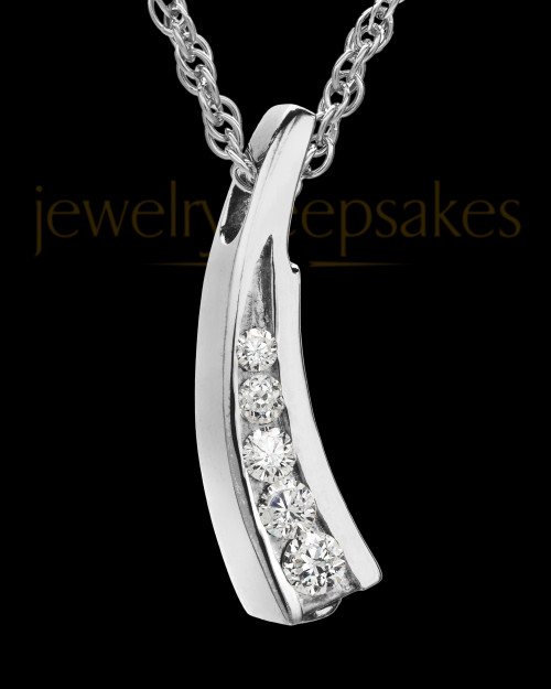 Remembrance Jewelry Cubic Zirconia Filled Solid 14K White Gold Leaf