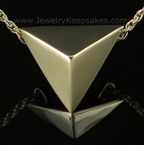 Jewelry Urn Triangle Keepsake in 14K Gold Plated