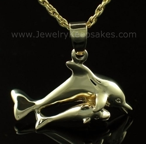 Keepsake Urn Jewelry Gold Plated Dolphin with Baby