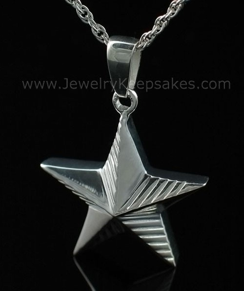 Memorial Keepsake Jewelry Sterling Silver Military Star