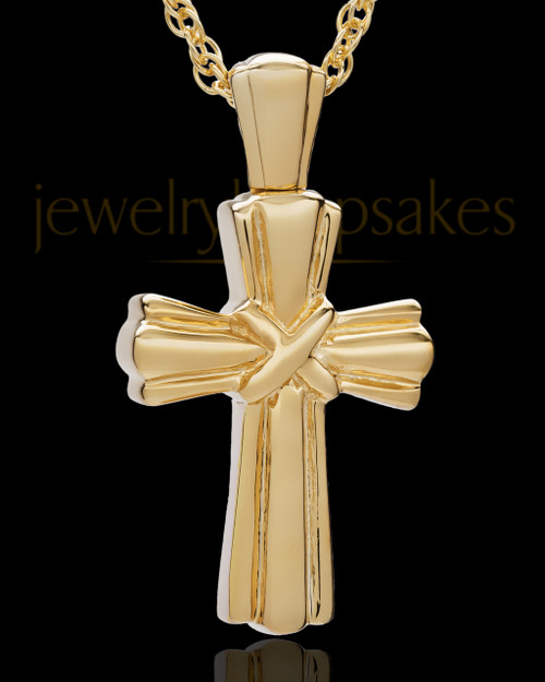 Cremation Ash Jewelry Antique 14K Gold Plated Wrapped Cross